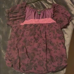 Torrid dark purple roses top Size 2!